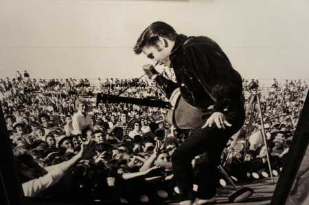 Elvis in concert photo of a photo