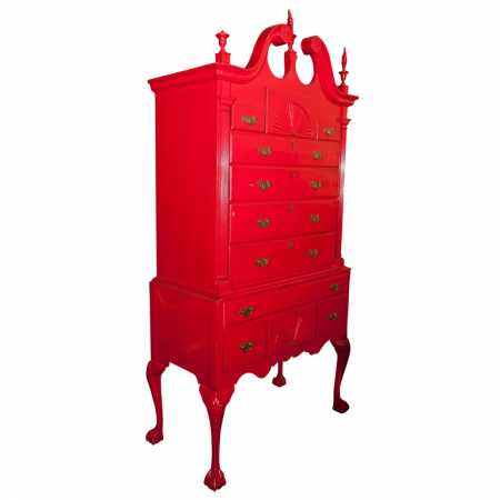 Red Painted Georgian Highboy