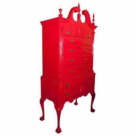 Red Painted Georgian Highboy