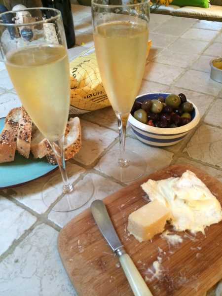 champagne and cheese with Ava